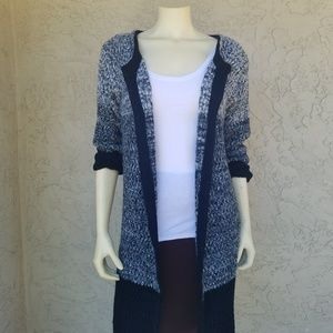 Selfie Couture Black Marled Knit Duster Cardigan
